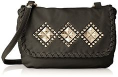 Wild Pair Washed With Studded Flap Cross Body Handbag Black One Size ** Click on the image for additional details.