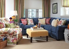 Pinch Pleat Draperies. Classic Home Sectional in the fabric Truro in the color Cobalt. Alexandra