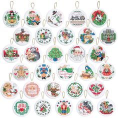 "Lotsa Christmas Ornaments Counted Cross Stitch Kit-2"""" Round 14 Count Set Of 30"