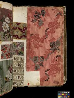 Leather bound swatch book, Lyon, France, ca. 1763-1764. V Samples of dress silks from a travelling salesman's book. The book was used to offer potential customers previews of the forthcoming season's fashionable designs and colours so that they could make orders. Click on the link to see more fabulous samples inside the book!