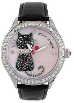 Betsey Johnson Pave Cat Black Patent Leather Strap Watch