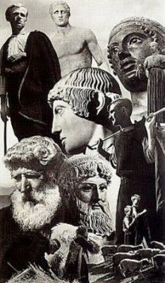 The faces of gods' and heroes' statues - Apollo, Poseidon, Hermes, the Ηνίοχος/Charioteer of Delphi - are presented next to 1930 photos of Greek shepherds and farmers, to show the continuity in time. Greek Art, Barbarian, Ancient Greece, Nostalgia, Hero, Sculpture, Photography, Painting, Animals
