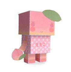 DIY  - Paper Toy Box  - Peach Momoko -Printable PDF 300dpi digital file