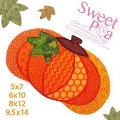Pumpkin mugrug 5x7 6x10 8x12 9.5x14 in the hoop machine embroidery design