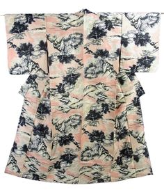 This is a Meisen Kimono with a scenery pattern such as village and mountain, which is woven on the base