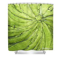 Lime Green Designer Shower Curtain Art Abstract Apple Vortex Modern Interior Design