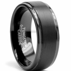 8MM Black High Polish / Matte Finish Mens Tungsten Ring Wedding Band