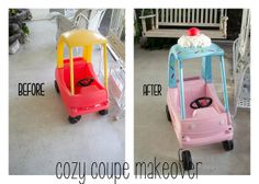 the Three Little Birdies: Cozy Coupe Makeover: DIY Tutorial Cozy Coupe Makeover, Diy For Kids, Crafts For Kids, Cool Things To Build, Kids Picnic Table, Baby Lovey, Kids Corner, Diy Toys, Play Houses