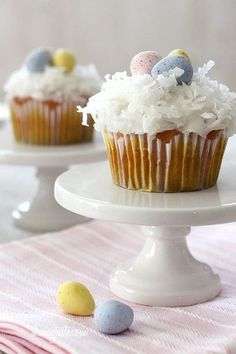 Skinny Coconut Cupcakes - the perfect sweet treat for your Easter meal. The kids will love them!