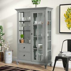 Wayfair Lefevre Glass Shelf Curio Cabinet #ad#diningroom
