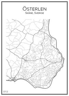 Österlen. Sverige. Map. City print. Print. Affisch. Tavla. Tryck. Stadskarta.
