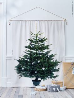 Christmas inspiration from Ikea. Tree is printed on curtain Ikea Christmas Tree, Fabric Christmas Trees, Noel Christmas, Winter Christmas, Christmas Tree Decorations, Christmas Crafts, Holiday Decor, Christmas Canvas, Christmas Print