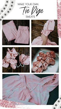 Tie Dye sweats and loungewear are the lastest stay at home fashion trend. Learn how to make your own tie dye sweats at home! Jeans Tie & Dye, Diy Tie Dye Shirts, Diy Shirt, Diy Tie Dye Pants, Diy Tie Dye Sweatshirt, Bleach Dye Shirts, Tie Die Shirts, Tie Dye Socks, Do It Yourself Mode