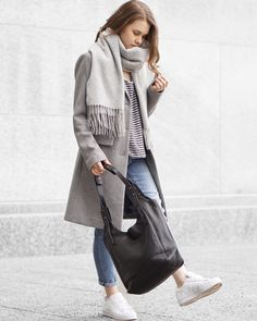 Grey Wool Scarf, Grey Striped T-Shirt, Grey Wool Peacoat, Girlfriend Denim Jeans, White Adidas Sneakers, Large Black Tote