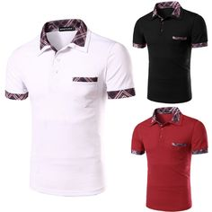 600f9c54 Men's Stylish Tops Slim Fit Casual Fashion T-shirts Polo Shirt Short Sleeve  Tee