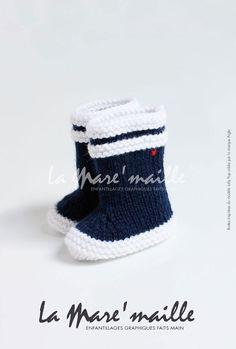 Bottes de pluie bébé en laine La Mare'maille par LaMareMaille