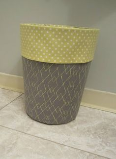 fabric covered trash can diy