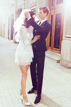 city hall vintage lace wedding dress #shortweddingdresses
