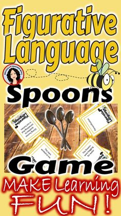 Figurative Language is a tough concept for students. This Spoons Game will help the students remember the different types of Figurative Language and the definition of each type. All wrapped up in a game for loads of fun. This Figurative Language Spoons G Language Arts Games, Language Lessons, 6th Grade Ela, 4th Grade Reading, Third Grade, Teaching Social Skills, Teaching Tools, Grammar Games, Reading Resources