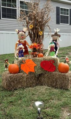 outside fall decor corn stalks hay fodder shock - Outside Fall Decorations