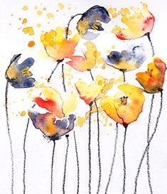 - Watercolor painting by Leonie Cheetham of yellow flowers - Watercolor Flowers Tutorial, Pen And Watercolor, Watercolour Tutorials, Watercolor Paintings, Watercolour Flowers, Flower Paintings, Watercolours, Freelance Illustrator, Deco