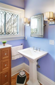 Interior Products | primed trim to match the existing in this turn-of-the-century Victorian, with a shot of periwinkle for good measure | Bayer Built Woodworks, Inc.