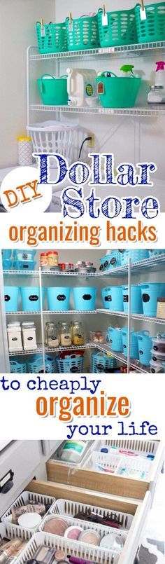 Awesome Dollar Store & Dollar Tree Organization Hacks for Organizing Your Home on a Budget in 2019 Cheap organizing ideas from dollar stores Organisation Hacks, Organizing Hacks, Home Organization Hacks, Hacks Diy, Organizing Your Home, Cleaning Hacks, Bedroom Organization, Organising, Kitchen Organization