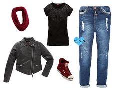 Jeans im Boyfriend-Look.  Passend zur Jeans (€ 15,99) das Shirt (€ 6,99), die Bikerjacke (€ 15,99), der Schal (€ 4,99) und die Sneaker (€ 24,99).