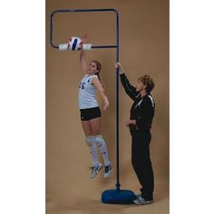 The Spiker by Jaypro. $188.10. The Spiker volleyball trainer has an aluminum frame and is finished in blue. Includes attached ball. Includes polyethylene base (fillable with sand) provides stability and will not harm floor . Aluminum construction with strong powder coated blue finish . Durable foam ball holder . Telescopes from 6 ft. to 12 ft. . 1-Year manufacturer's warranty The Spiker is used to develop and refine the skills of spiking and serving. It has proven va...