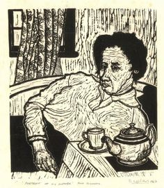 """Portrait Of My Mother, Port Elizabeth, 1967"" - linocut by Norman Kaplan. http://normankaplan.co.za/ Tags: Linocut, Cut, Print, Linoleum, Lino, Carving, Block, Woodcut, Helen Elstone, Anti-apartheid, Exile, South Africa, Dignity, Political."