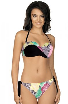 Lorin R5007V2 kostium kąpielowy Przepiękny dwuczęściowy strój kąpielowy, ozdobiony pięknym kwiatowym motywem, miseczki usztywniane, wkładka push-up