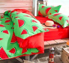 Kawaii watermelon students printed bed sheet 4 pieces