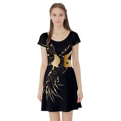 Beautiful Bird In Gold And Black Short Sleeve Skater Dresses