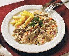 Rezept Schweinegeschnetzeltes mit Sauerkraut (aus Finessen 1/2014) von pinki666 - Rezept der Kategorie Hauptgerichte mit Fleisch Sauerkraut, Japchae, Pasta Salad, Food And Drink, Chicken, Meat, Ethnic Recipes, Pampered Chef, Thermomix