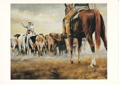 Western Artist Signed Bethany Caskey Cowboy Cattle Horse Postcard