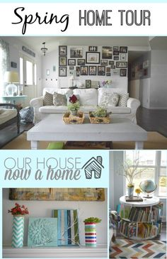 Spring home tour, Spring home tour with simple ideas, crafts, DIY projects. All with bold colors and a coastal/rustic look to the home. How to decorate a home with low cost ideas, crafts, DIY and tutorials. To see more visit http://ourhousenowahome.com/ or click on the post