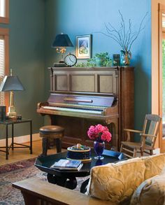 music room with upright piano