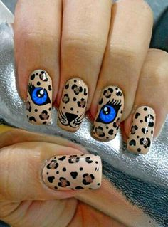 67 New Ideas For Fails Design 2019 Valentines Cat Nail Art, Cat Nails, Leopard Print Nails, Dream Nails, Fancy Nails, Beautiful Nail Art, Nail Art Designs, Cartoon Nail Designs, Nails Design