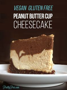 Peanut Butter Cup Cheesecake -- without the dairy, eggs, gluten or refined sugar! Easy, no-bake, mix & chill recipe you'll want to make over and over. Tastes like a giant Reese's cup! | #vegan #peanutbuttercup #healthydessert from PrettyPies.com