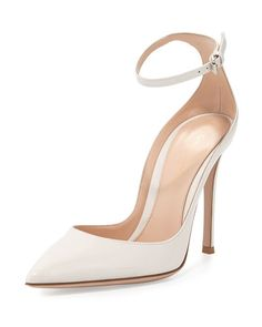 S0CS1 Gianvito Rossi Patent Low-Collar Ankle-Wrap Pump, Off White