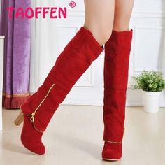 Tamanho 32 - 43 mulheres salto alto sobre o joelho botas Lady moda Sexy longo neve calçados qualidade quente sapatos de salto alto quadrados botas P399 alishoppbrasil