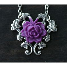 Purple Rose Necklace ($24) ❤ liked on Polyvore featuring jewelry, necklaces, silver heart necklace, heart pendant, flower necklace, purple pendant necklace and heart pendant necklace