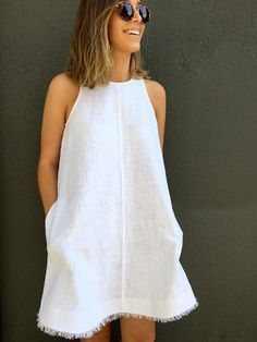 Modified Ruby Dress in Pebble Washed Linen | Sew Tessuti | Bloglovin'