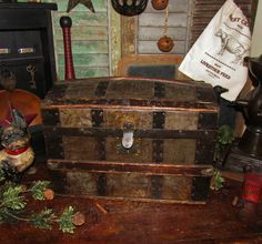 Primitive Antique Vtg Childs Doll Dome Steamer Wood Tin Metal Trunk Toy Chest #NaivePrimitive