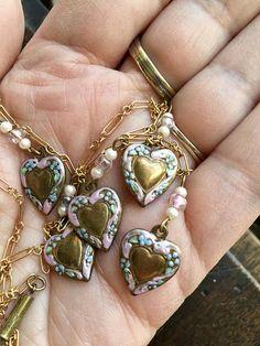 Vintage Victorian Style  Enameled Heart Drop Necklace  Kirks