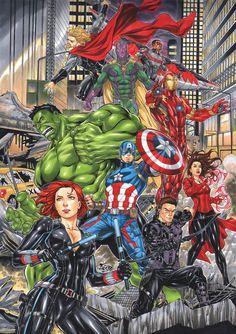 Avengers by Fredbenes on DeviantArt Arte Dc Comics, Dc Comics Superheroes, Marvel Comics Art, Marvel Memes, Marvel Avengers Assemble, Avengers Art, Avengers Comics, Comic Books Art, Comic Art