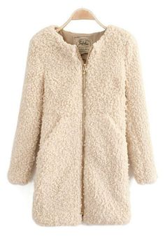 Shop Warmful Golden Zipper Beige Fluffy Coat at victoriaswing, personal womens clothing online store! high quality, cheap and big discount, latest fashional style! Parka Coat, Wool Coat, Fur Coat, Love Fashion, Winter Fashion, Womens Fashion, Coats For Women, Clothes For Women, Fluffy Coat