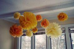 Pom Poms... fun way to add color to a room each season!