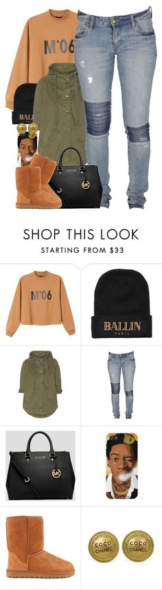 Untitled #1436 by power-beauty ❤ liked on Polyvore featuring Monki, Alex and Chloe, Current/Elliott, Lee, MICHAEL Michael Kors, UGG Australia and Chanel