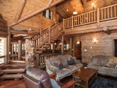Lassen Lodge: Hat Creek fishing lodge. Great room showing stairs with kitchen and dining rooms in the background. VRBO# 479385